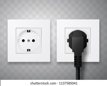 Socket and plug inserted in electrical outlet isolated. Vector illustration.
