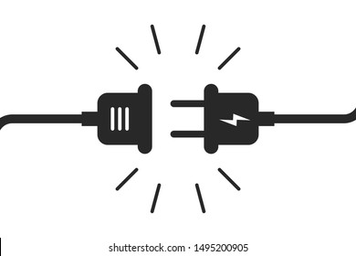 Socket plug isolated icon connection. Plug socket concept. Electric or energy connection icon. EPS 10