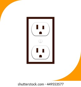 Socket sign. Brown icon on white background