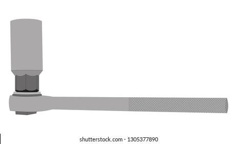Socket wrench with deep-well socket installed