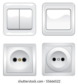 Sockets and switches оn white background