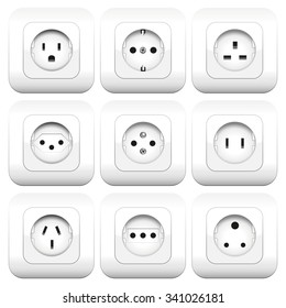 Sockets Varieties Different Sockets - different types - worldwide varieties. Isolated vector illustration over white background.