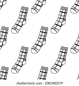 Socks. Black and white seamless pattern for coloring book and page. Knitted clothes.