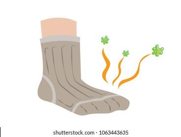 Socks emits odor, disease or pain. Editable Clip Art.