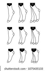 Socks icon set, vector illustration. Samples of different types of socks. Short socks long, medium , knee-highs. Label describing the quantity of goods. Sock label. The toe hosiery.