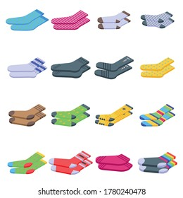 Socks icons set. Isometric set of socks vector icons for web design isolated on white background