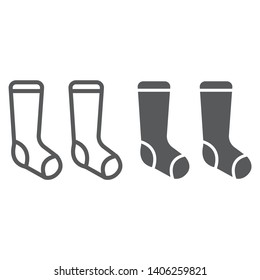 Socks line and glyph icon, clothes and fashion, hosiery sign, vector graphics, a linear pattern on a white background, eps 10.