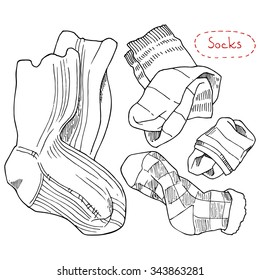 Socks, a set of hand drawn design elements on a white background.