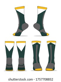 Socks template vector set isolated