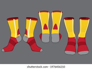 Socks template vector set, isolated