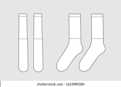 Socks vector template isolated on white. Unisex clothes. Apparel models sketch set. Outline for fashion clothes design. Front and right view.
