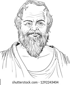 Socrates (469-399 BC) portrait in line art illustration. He was a classical Greek (Athenian) philosopher and he is considered as the father of western philosophy.