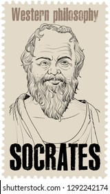 Socrates (469-399 BC) portrait on stamp   in line art. He  was a classical Greek (Athenian) philosopher and is considered as the father of western philosophy.