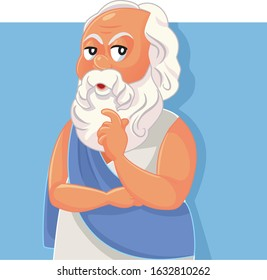 Socrates Classical Greek Philosopher Vector Cartoon. Funny portrait of Hellenic ancient thinker in white tunic