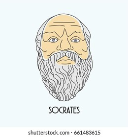 Socrates face hand drawn illustration