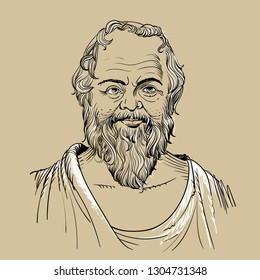 Socrates portrait in line art illustration. He (469-399 BC) was a classical Greek (Athenian) philosopher and he is considered as the father of western philosophy.
