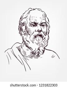 Socrates sketch style vector portrait