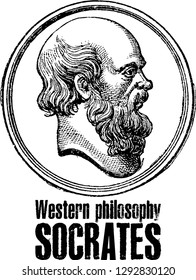 Socrates vector portrait stamp in line art. He (469-399 BC) was a classical Greek (Athenian) philosopher and is considered as the father of western philosophy.