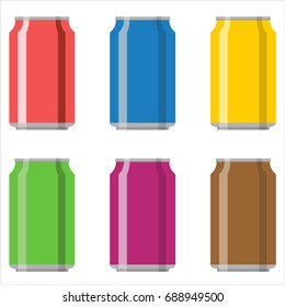 Soda aluminium can set vector illustration isolated on white background.