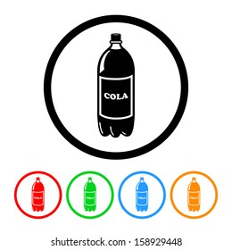 Soda Bottle Icon with Color Variations