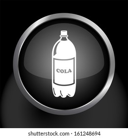 Soda Bottle Icon Symbol with Glass Button Background