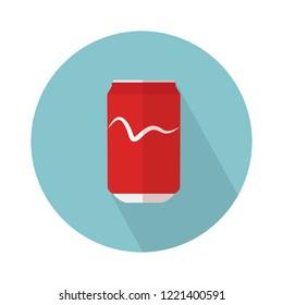 soda can icon. Flat illustration of aluminum can. soda tin isolated on white background. cola sign symbol