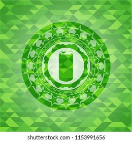 soda can icon inside realistic green mosaic emblem