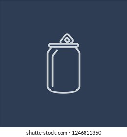 Soda can icon. Soda can linear design concept from Drinks collection. Simple element vector illustration on dark blue background.