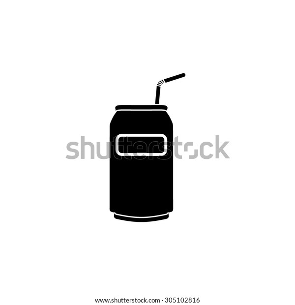 Soda Cans with tube. Black simple vector icon