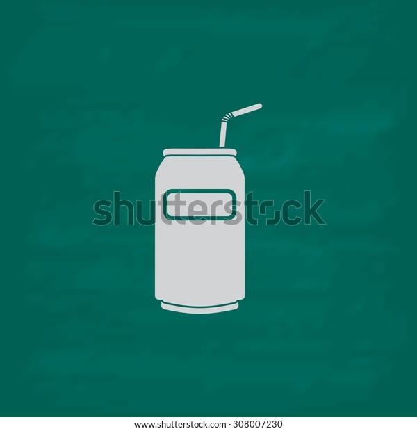 Soda Cans with tube. Icon. Imitation draw with white chalk on green chalkboard. Flat Pictogram and School board background. Vector illustration symbol