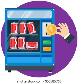 Soda cans vending machine with hand drop gold dollar coin vector flat illustration soda automate