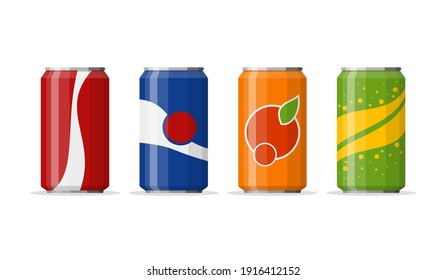 Soda in colored aluminum cans set icons isolated on white background. Soft drinks sign. Carbonated non-alcoholic water with different flavors. Drinks in colored packaging. Vector illustration