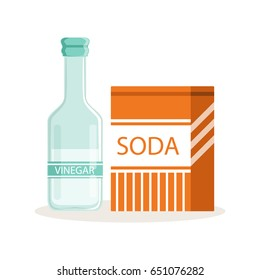 Soda in a craft paper bag and glass bottle of vinegar, baking ingredients vector Illustration