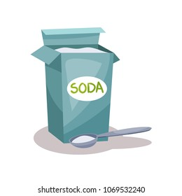 Soda in a craft paper bag and spoon, baking ingredient vector Illustration on a white background
