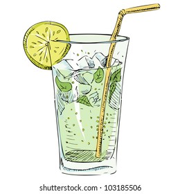 Soda glass with citrus segment and ice cubes. Hand drawing colorful sketch vector illustration