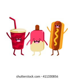 Soda, Ice-cream And Hot Dog Cartoon Friends Colorful Funny Flat Vector Isolated Illustration On White Background