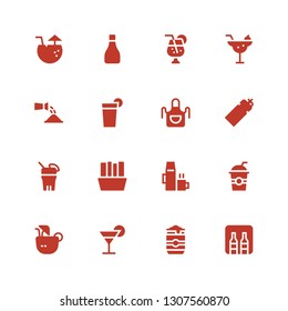 soda icon set. Collection of 16 filled soda icons included Minibar, Beer can, Cocktail, Coconut drink, Drinks, Hot drink, Fries, Drink, Bottle, Apron, Beverage, Watering, Juice
