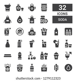 soda icon set. Collection of 32 filled soda icons included Water, Hotdog, Fries, Water bottle, Apron, Cocktails, Drink, Bottle, Alcohol, Lemonade, Cocktail, Minibar, No fast food