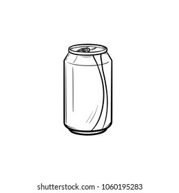 Soda pop can hand drawn outline doodle icon. Metal can of soda pop with drinking straw vector sketch illustration for print, web, mobile and infographics isolated on white background.