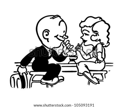 Soda Shop Romance Retro Clipart Illustration Stock Vector Royalty