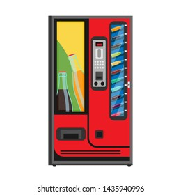 Soda vending machine vector flat icon. Beverage drink automatic buy cold bottle. Food sell service product. Business equipment cartoon