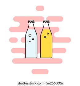 Soda water color thin line icon. Cloud background