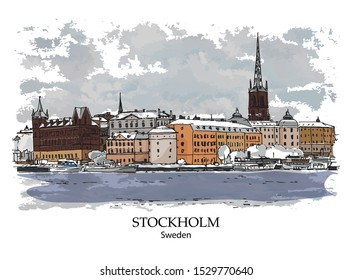 SODERMALM, STOCKHOLM, SWEDEN: Panoramic view to waterfront. Hand drawn sketch. Poster, postcard.