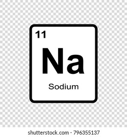 Sodium chemical element. Sign with atomic number. Chemical element of periodic table.