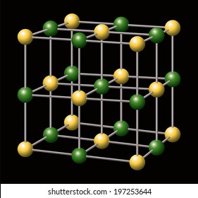 Sodium Chloride - NaCl - Salt - Sodium and Chloride ions a forming the three-dimensional cubic crystal structure of Sodium chloride. Vector illustration on black background.