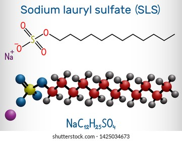 Sodium dodecyl sulfate (SDS), sodium lauryl sulfate (SLS) molecule. It is an anionic surfactant used in cleaning and hygiene products. Structural chemical formula and molecule model.