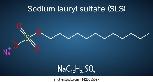 Sodium dodecyl sulfate (SDS), sodium lauryl sulfate (SLS) molecule. It is an anionic surfactant used in cleaning and hygiene products. Structural chemical formula on the dark blue background.