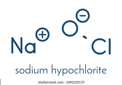 Sodium hypochlorite (NaOCl) molecule. Aqueous solution is known as (liquid) bleach. Skeletal formula.