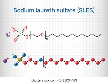 Sodium laureth sulfate (SLES) molecule. It is an anionic surfactant used in cleaning and hygiene products. Structural chemical formula. Sheet of paper in a cage. Vector illustration