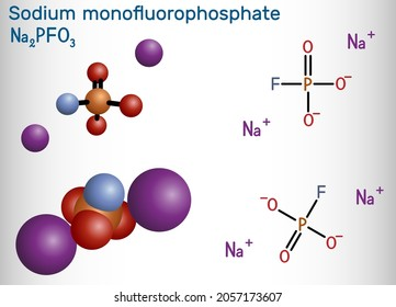 Sodium monofluorophosphate, MFP, Na2PO3F molecule. It is inorganic phosphate, antibacterial agent, protect against cavities. Structural chemical formula, molecule model. Vector illustration